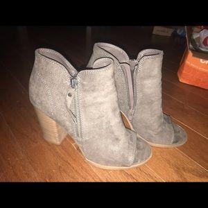 Gray peep toe booties